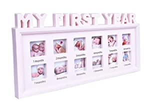 "My First Year Baby Keepsake Frame for Photo Memories, 12 Months Picture Frames with Twelve 1.8"", First Mothers Day Gift for Mom Parents ( Pink ), 16 x 8 x 1 inches"