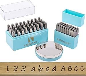 Imkont 1/8inch 3mm Number and Letter Metal Stamp 63pcs with Metal Bench Block Set (A-Z & a-z &0-9 & Metal Bench Block)