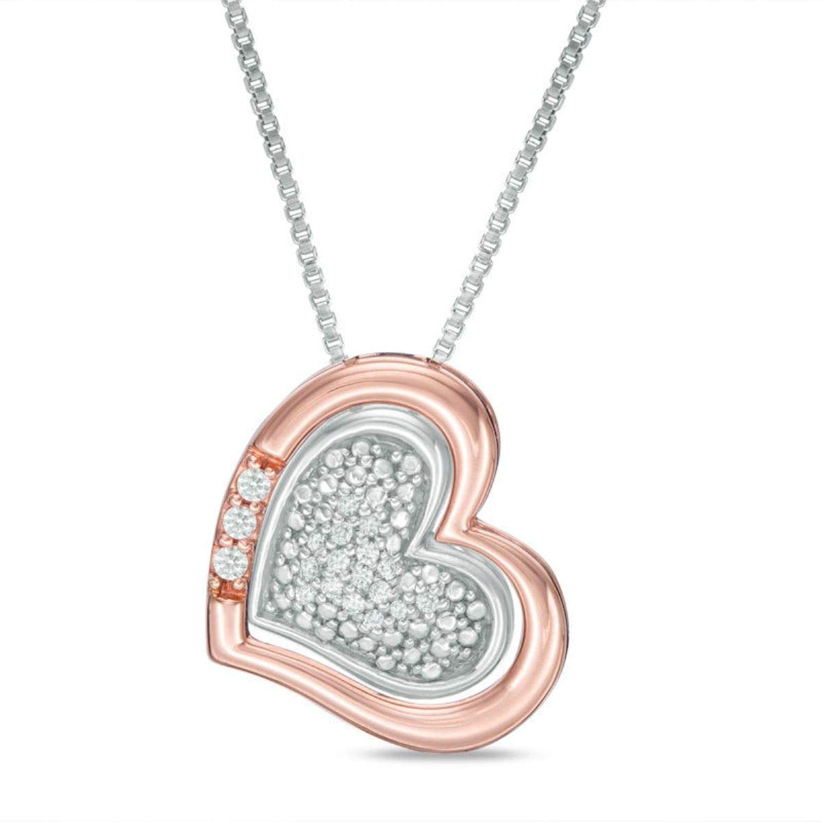 TrioStar Round Diamond 14K White Gold Plated Love Heart Pendant Valentine Gift for Her