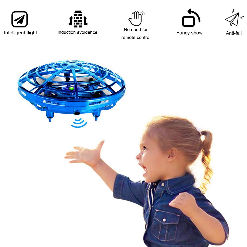 AMAZLA Flying Toys Drones for Kids, Mini UOF Hand Controlled Flying Ball Drone Helicopter, Intelligent Quadcopter Altitude Hold for Kids, Boys and Girls Toys (Blue)