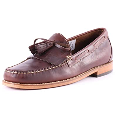bd89071c56d Mens G.H Bass Weejuns Layton Pull Up Kiltie Smart Leather Loafers Shoes - Dark  Brown -