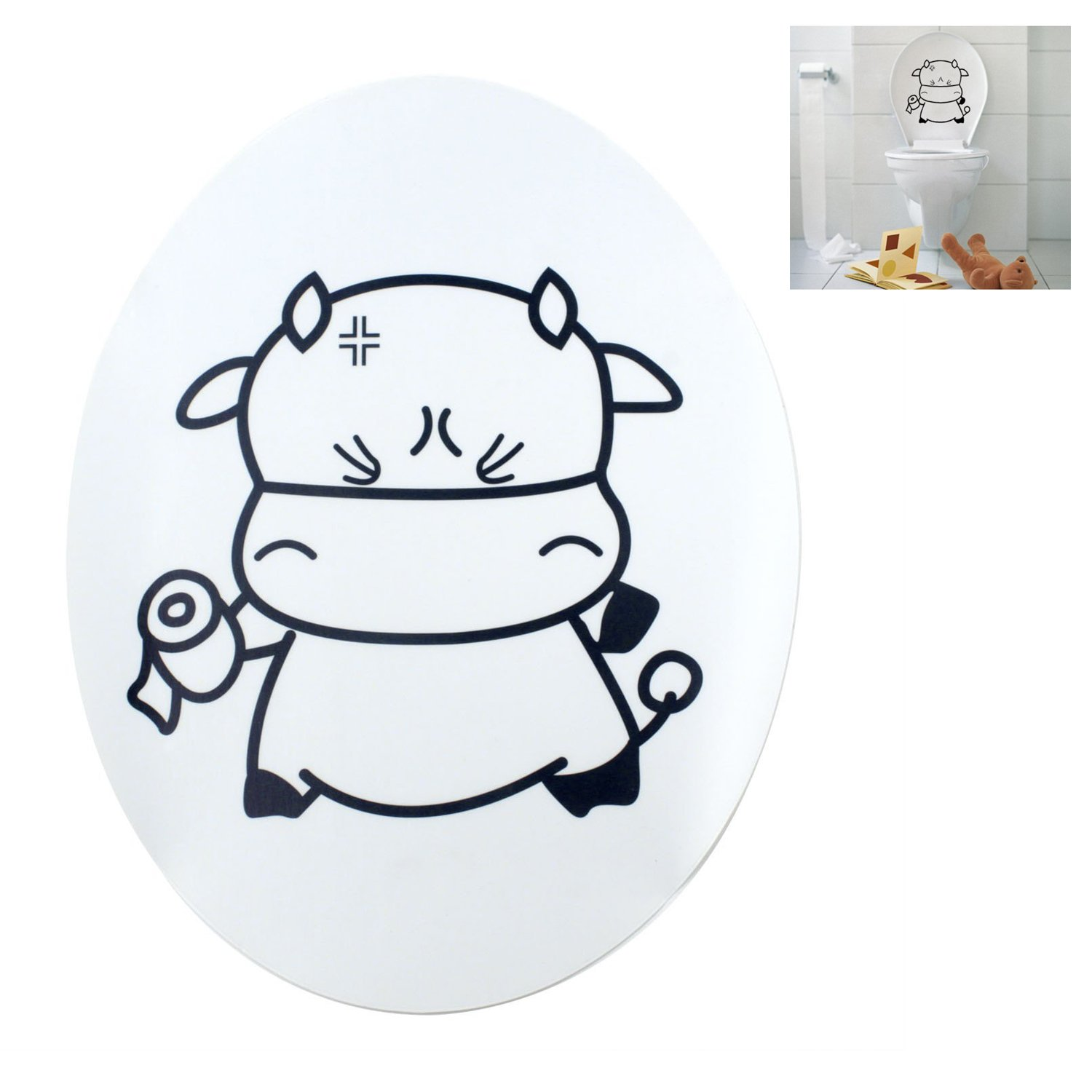 TOOGOO(R) Sweet Cow Toilet Seat Cover Decal Sticker by TOOGOO(R) (Image #3)