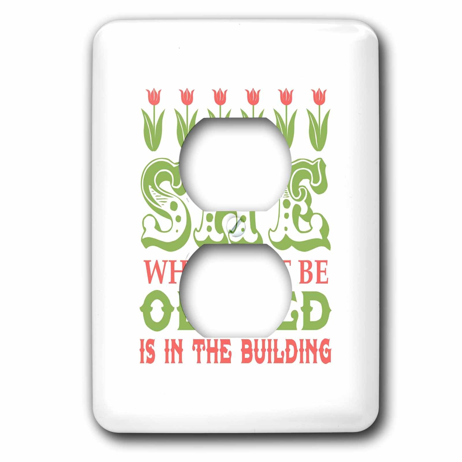 3dRose Russ Billington Designs - She Who Must Be Obeyed- Strong Woman Design in Green Pink and White - Light Switch Covers - 2 plug outlet cover (lsp_262289_6)