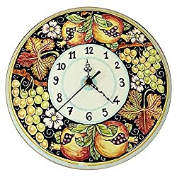 CERAMICHE D'ARTE PARRINI - Italian Ceramic Wall Round Clock Grape Art Pottery Painted Made in ITALY Tuscan
