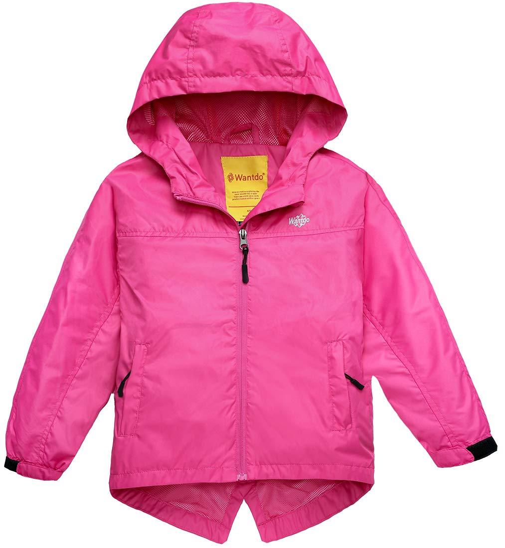Wantdo Girl's Waterproof Lightweight Jacket Hooded Windbreaker Rose Red 6/7 by Wantdo