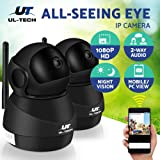 UL-TECH 2x 1080P HD WIFI IP Camera Wireless Home Security Camera Surveillance Camera Pet/Baby Monitor with Two-Way Audio Remote 10m Night Vision Motion Detection Email Alarm-Black