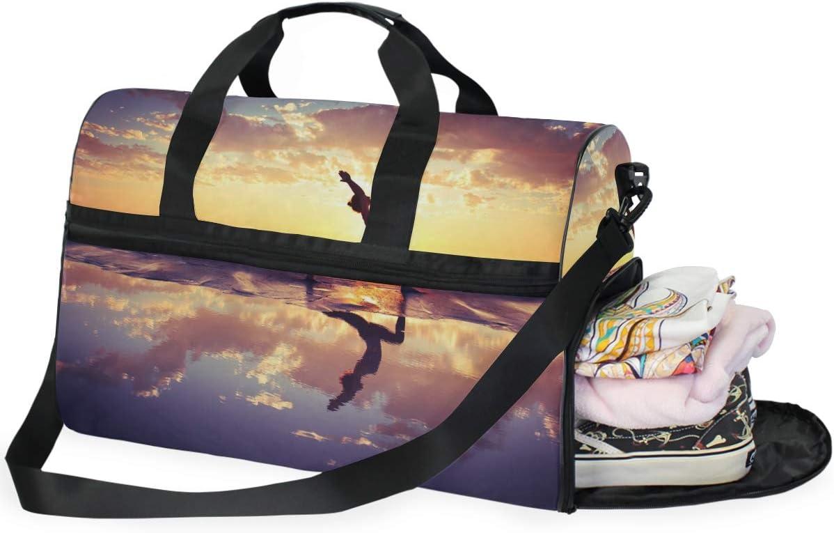 TFONE Ocean Beach Yoga Duffel Bag Sports Gym Weekend Bags with Shoe Compartmen