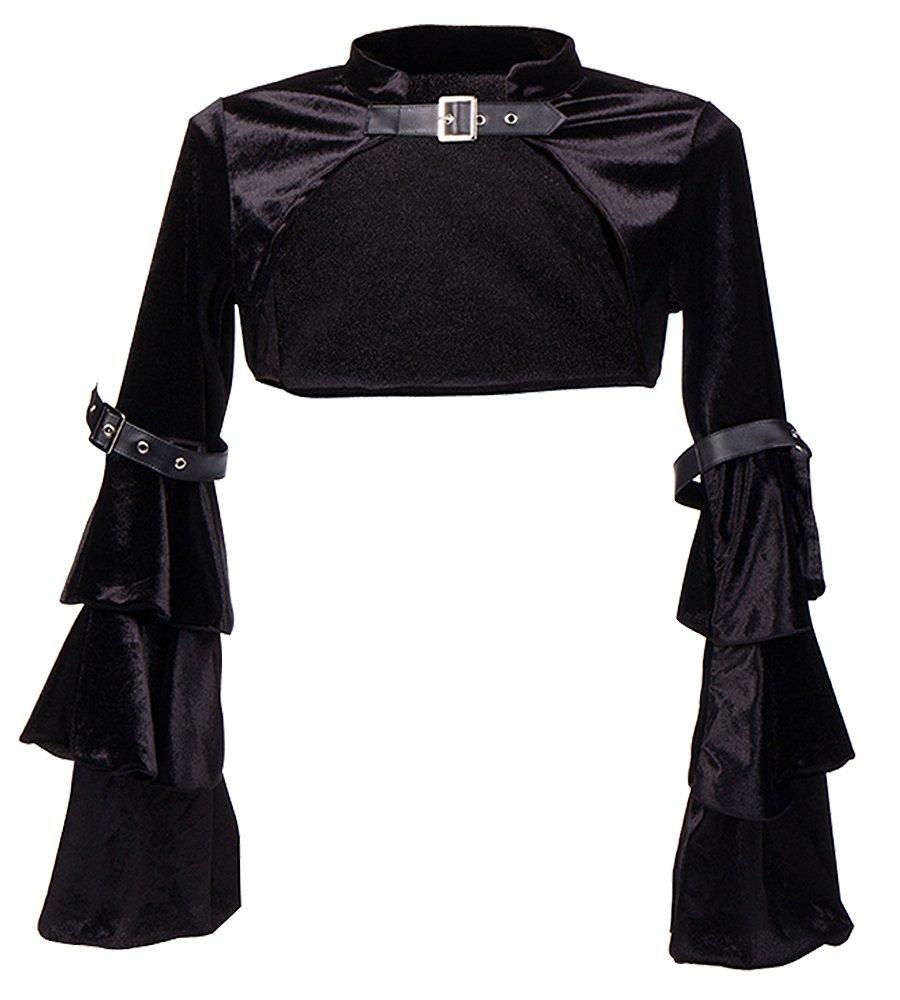 Killreal Women's Retro Vintage Gothic Steampunk Velvet Jacket Crop Top with Ruffled Long Sleeve Black Medium