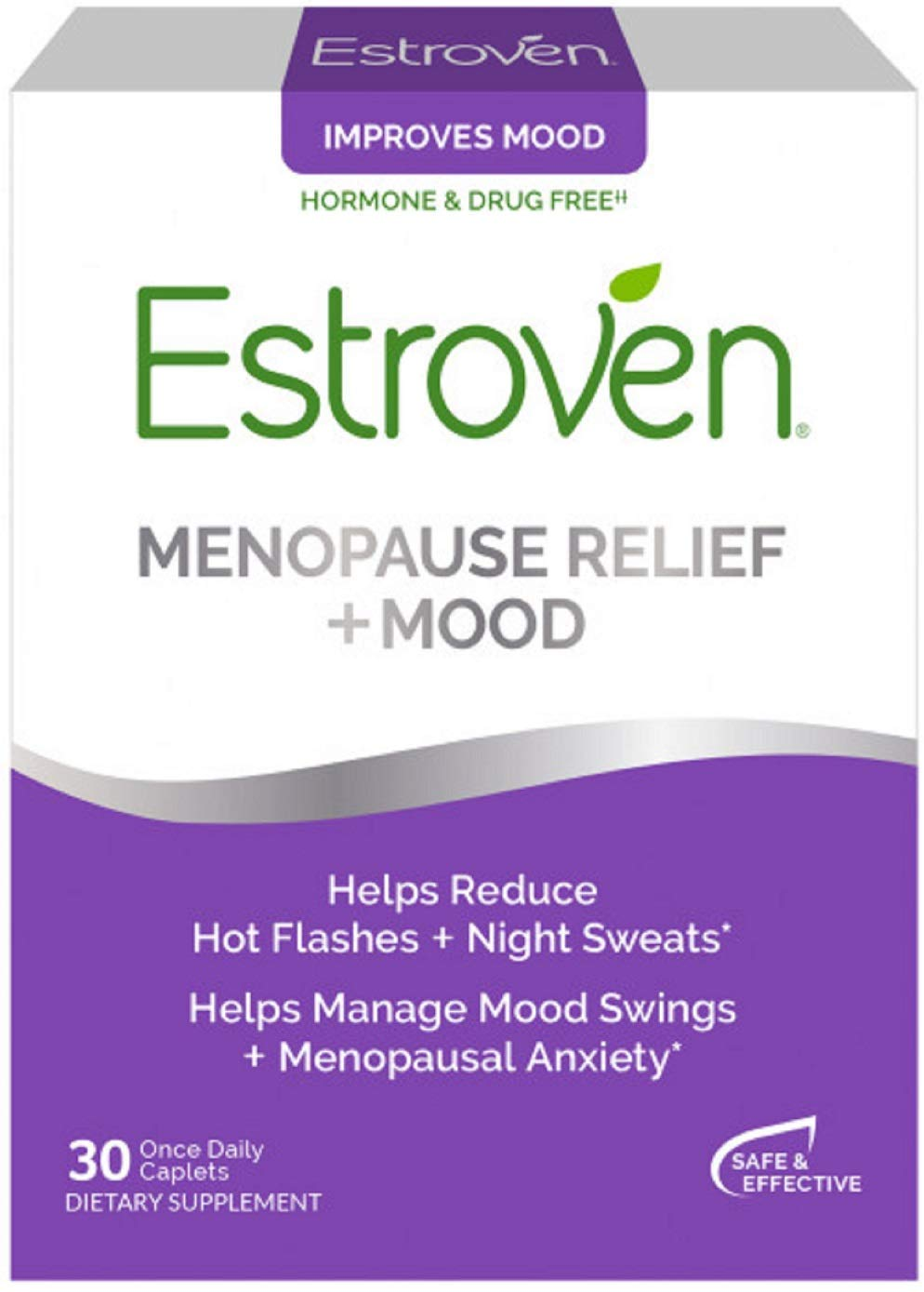 Estroven Stress Plus Mood & Memory - Menopause Relief Dietary Supplement - Multi-Symptom Relief - Helps Reduce Hot Flashes & Night Sweats* - Helps Manage Daily Stress & Mood* - 30 Caplets