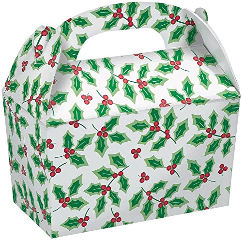 AMSCAN 5 Count Christmas Holly Cardboard Gable Boxes, 4-1...