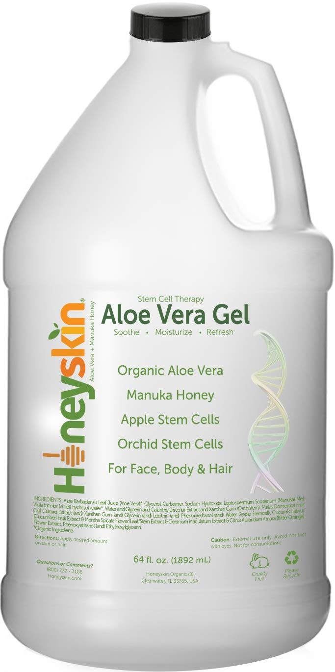 Organic Aloe Vera Leaf Gel - 100% Pure Aloe Leaf Gel for Face and Body After Sun Care - From Fresh Aloe Plants in USA - Hydrating Gel for Sunburn, Acne - No Clumping or Pulp - Non Sticky (64 oz)