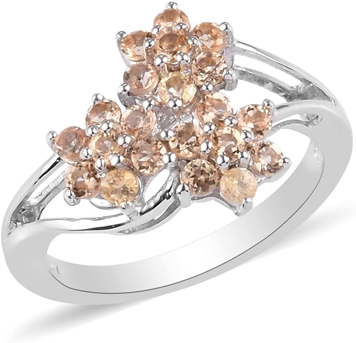 925 Sterling Silver Vermeil Rose Gold Platinum Plated Round Imperial Topaz Flower Ring Wedding Anniversary Engagement Bridal Jewelry for Women Ct 0.8
