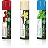 Avalon Organic Lip Balm Set With Soothing Vanilla Rosemary, Refreshing Peppermint Green Tea and Nourishing Cherry Aloe, All Natural and Organic Ingredients, Coconut Oil and Shea Butter, 0.15 oz each
