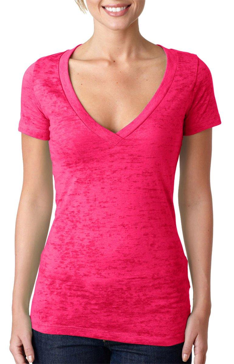 Next Level Rib-Knit Deep V-Neck T-Shirt, Shocking Pink, Medium (Pack12)