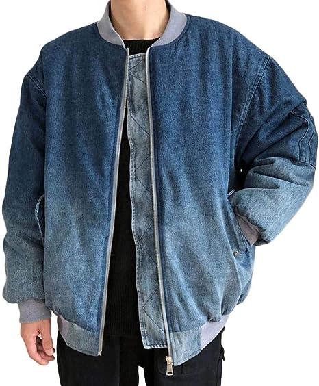 [Bestmood]中綿ジャケット メンズ デニム ブルゾン 厚手 ジップアップ ジージャン 綿入れ 防寒 ゆったりアウター クラーデション ファッション コート gジャン ストリート系 秋 冬