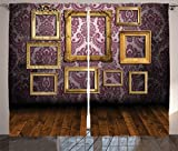Ambesonne Antique Decor Collection, Old Style Interior Wall Decorated with Classic Picture Frames Damask Pattern, Living Room Bedroom Curtain 2 Panels Set, 108 X 90 Inches, Golden Eggplant Wood