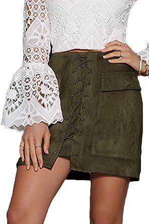 Prograce Women's Vintage Lace Up High Waist Bodycon Faux Suede ...
