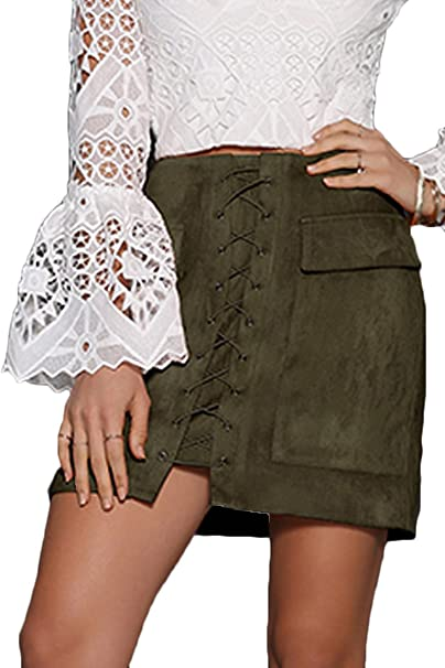 348d314167 Prograce Woman's High Waist Lacing Up Tight Winter Keep Warm Suede Skirt  Army Green S