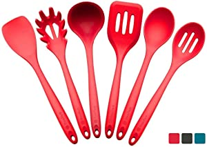 StarPack Premium XL Silicone Kitchen Utensil Set (6 Piece), High Heat Resistant to 600°F, Hygienic One Piece Design, Large Non Stick Spatulas & Serving Utensils - Cherry Red