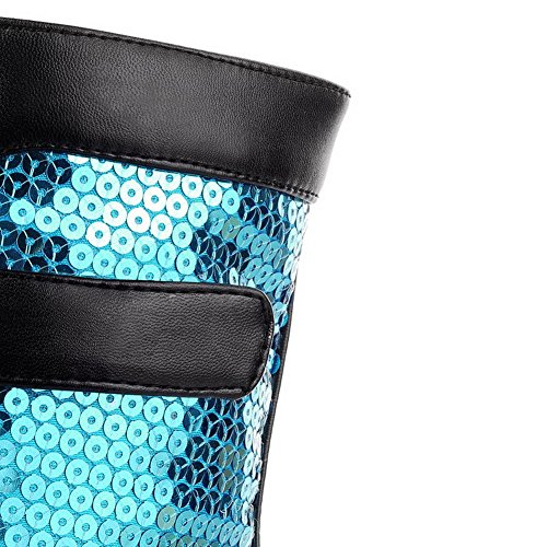 AllhqFashion Mujeres Mini Tacón Caña Baja Colores Surtidos Cordones Botas con Lentejuelas Azul