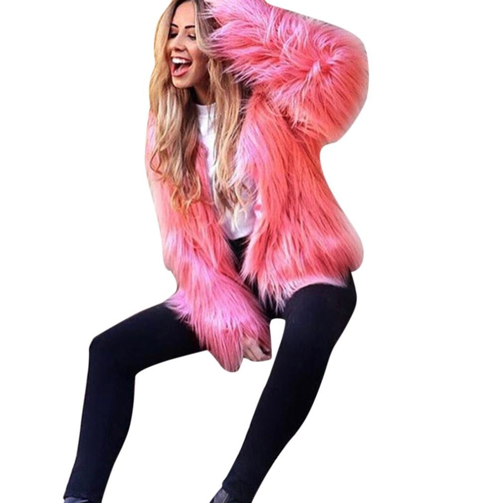 Minisoya Women's Winter Warm Coat Jacket Cardigan Sweater Short Overcoat Parka Outerwear (Hot Pink, L)