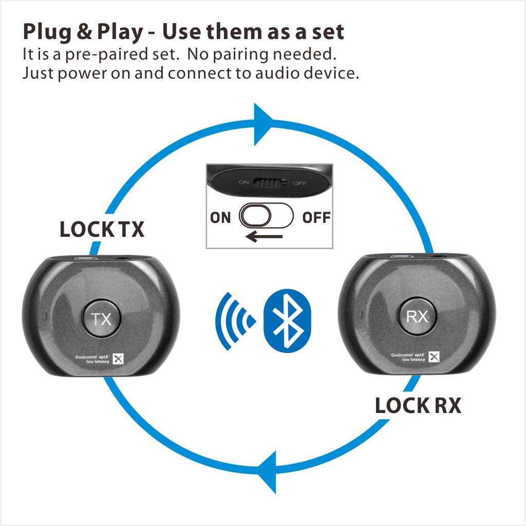 Avantree Lock Portable Pre-paired aptX LOW LATENCY Bluetooth Transmitter and Receiver Audio Adapter Set for Outdoor Use, TV Watching, Headphones, Speakers, Plug & Play, No Delay, 3.5mm AUX & RCA by Avantree (Image #5)