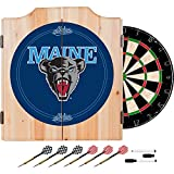 University of Maine Deluxe Solid Wood Cabinet Complete Dart Set - Officially Licensed!