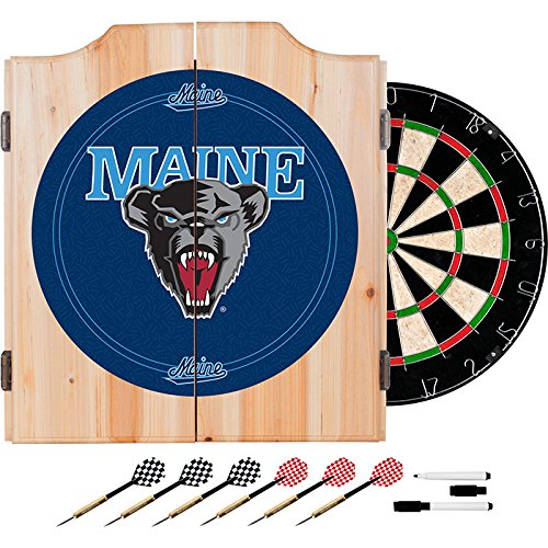 University of Maine Deluxe Solid Wood Cabinet Complete Dart Set - Officially Licensed! by TMG
