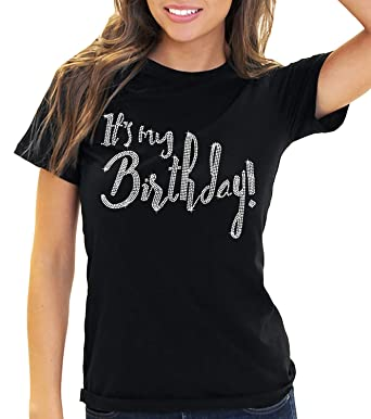 Its My Birthday Womens Rhinestone T Shirt
