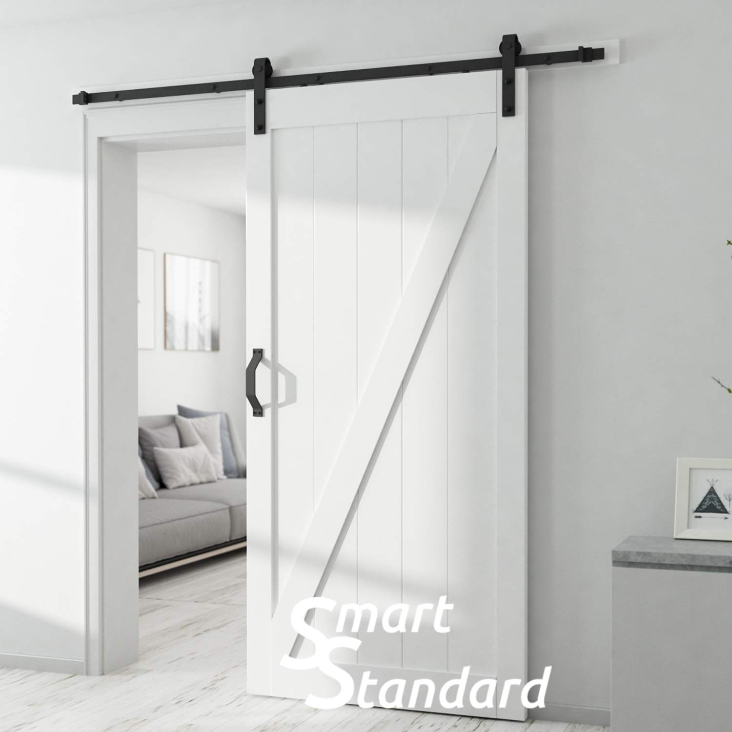 SMARTSTANDARD 36in x 84in Sliding Barn Door with 6.6ft BarnDoor Hardware Kit & Handle, Pre-Drilled Ready to Assemble Wood Slab Covered with Water-Proof PVC Surface (White Z-Frame Panel), by SMARTSTANDARD (Image #4)
