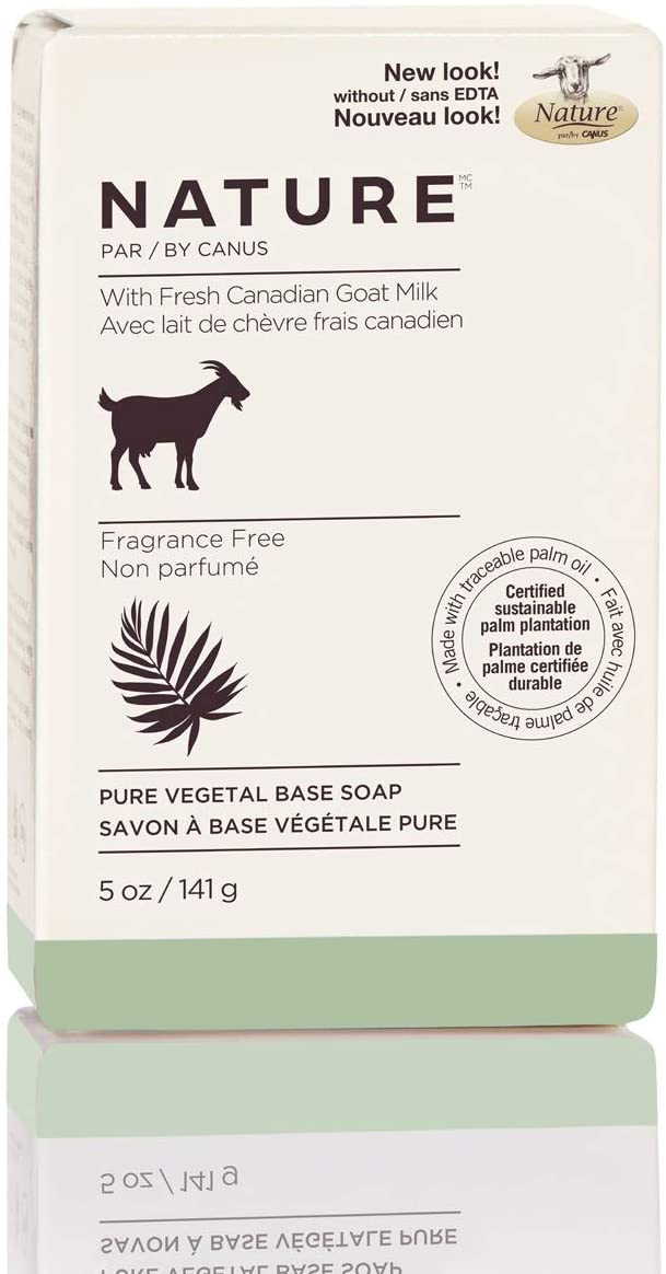 Nature by Canus Pure Vegetal Base Soap with Fresh Canadian Goat Milk, Fragrance-Free, 5 Oz bar