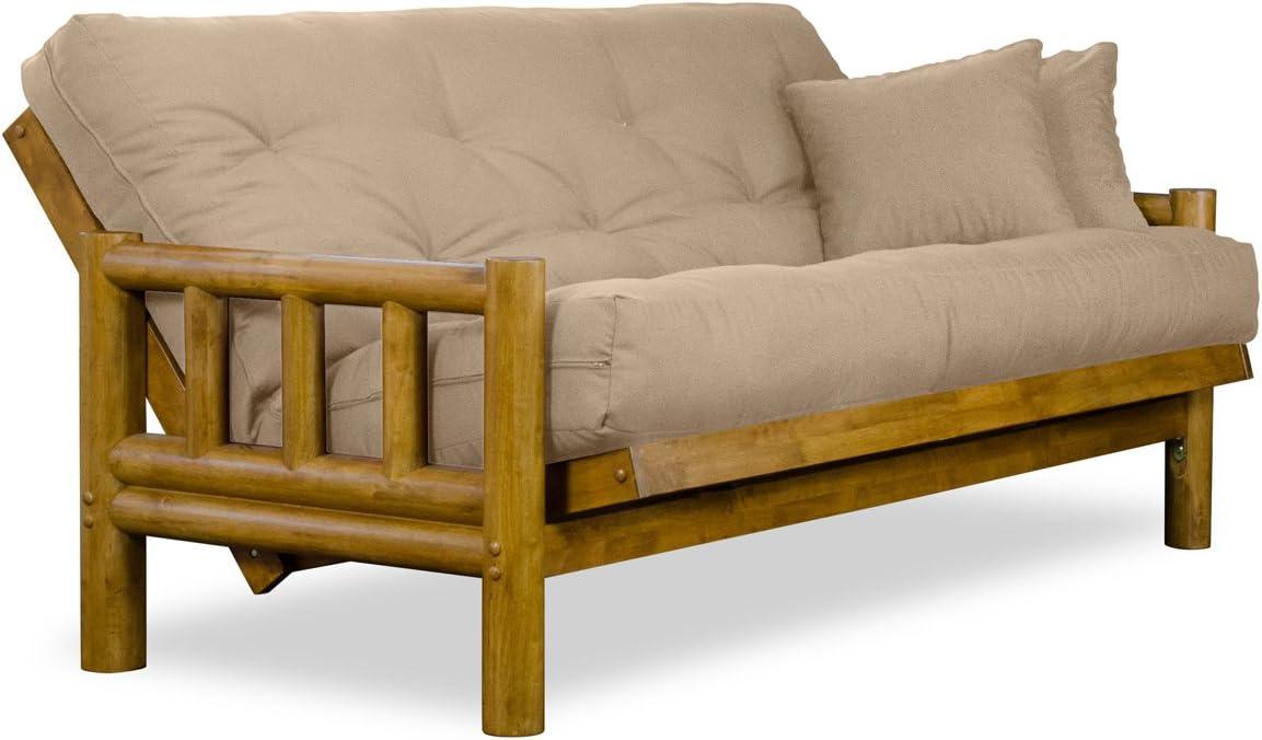 Nirvana Futons Rustic Tahoe Log Futon Sofabed Set – Full Frame, 8 Microfiber Khaki Mattress, Rich Heritage Finish
