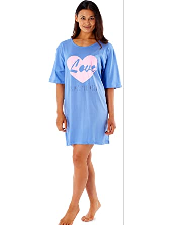d12a5f0daa Ladies 100% Cotton Short Sleeved Jersey Nightdress   Night Shirt Blue    Cream - One