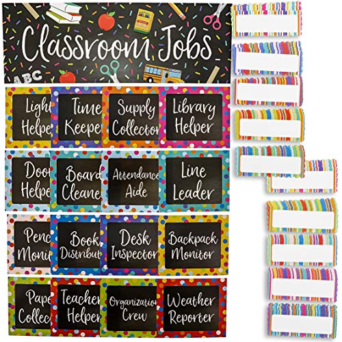 Juvale 17-Piece Chalkboard Design Classroom Jobs Chart Set for Bulletin Board and 50 Blank Name Tags]()