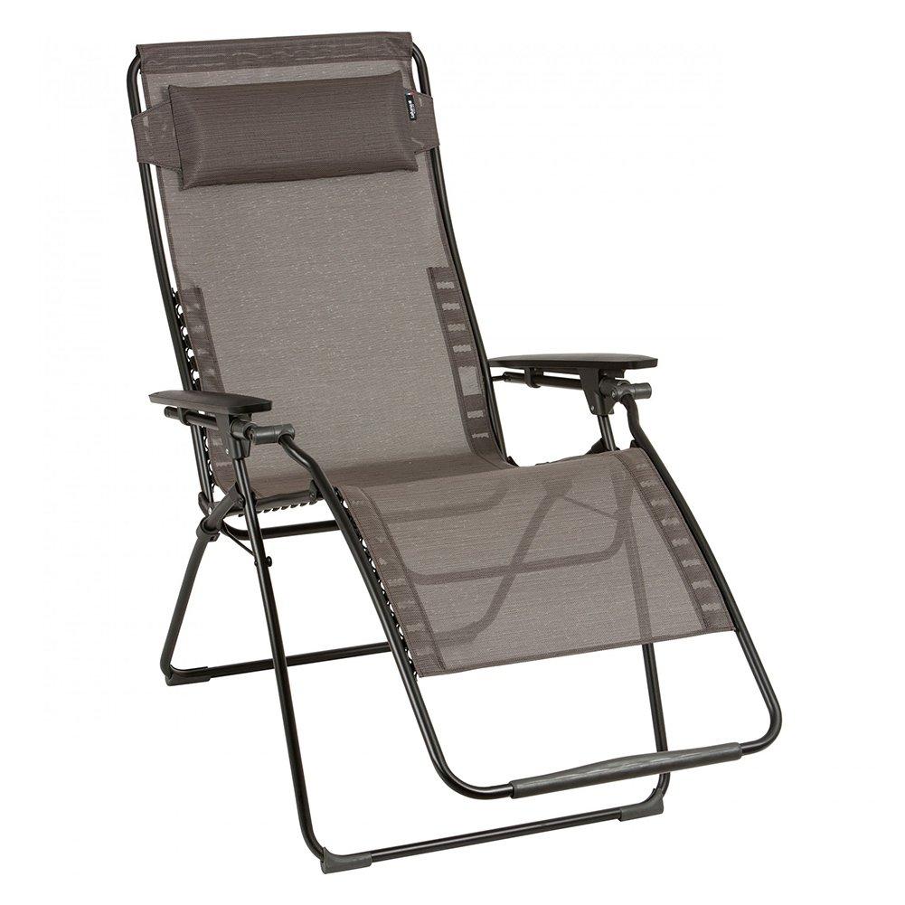 LAFUMA stilvoller Relaxsessel Futura XL Batyline Duo in schwarz aus Stahl, 76 x 90 x 125 cm, Sitzfläche aus hochwertiger Textilene in wood, mehrfach verstellbar, klappbar, Kopfpolster, wetterfest