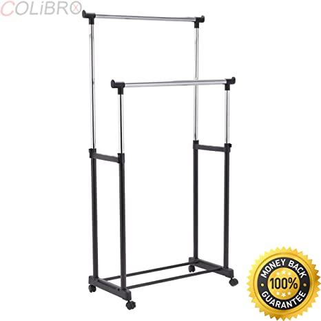 Amazoncom Colibrox Double Rail Adjustable Garment Rack Rolling
