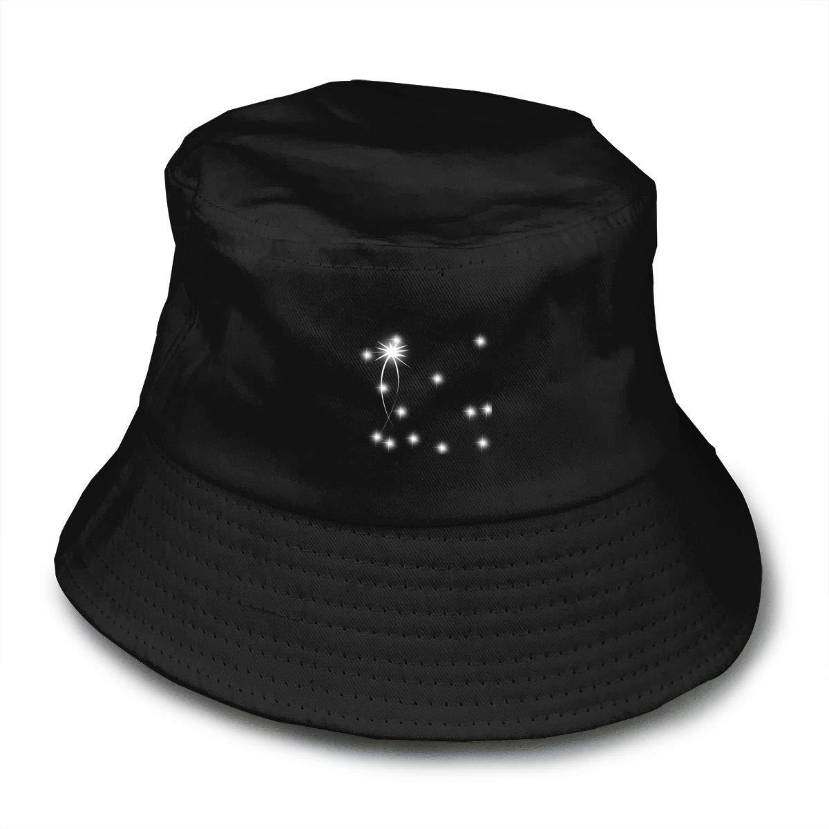 White Shining Dot Unisex Cotton Packable Black Travel Bucket Hat Fishing Cap