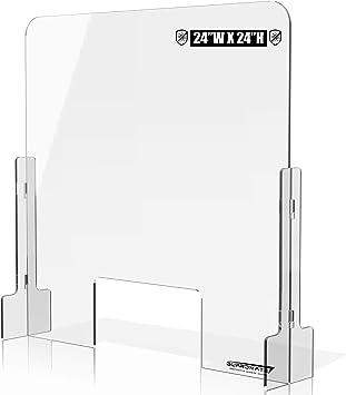 "Sneeze Guard Acrylic Plexiglass Clear 32/"" w x 24/"" h Cashier Counter No Cutout"
