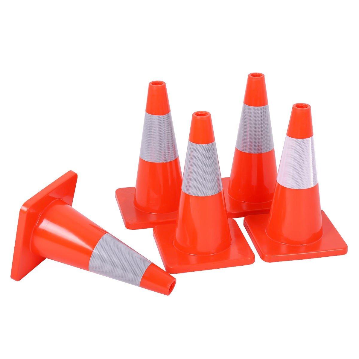 5 pcs 18'' Slim Fluorescent Safety Parking Traffic Cones