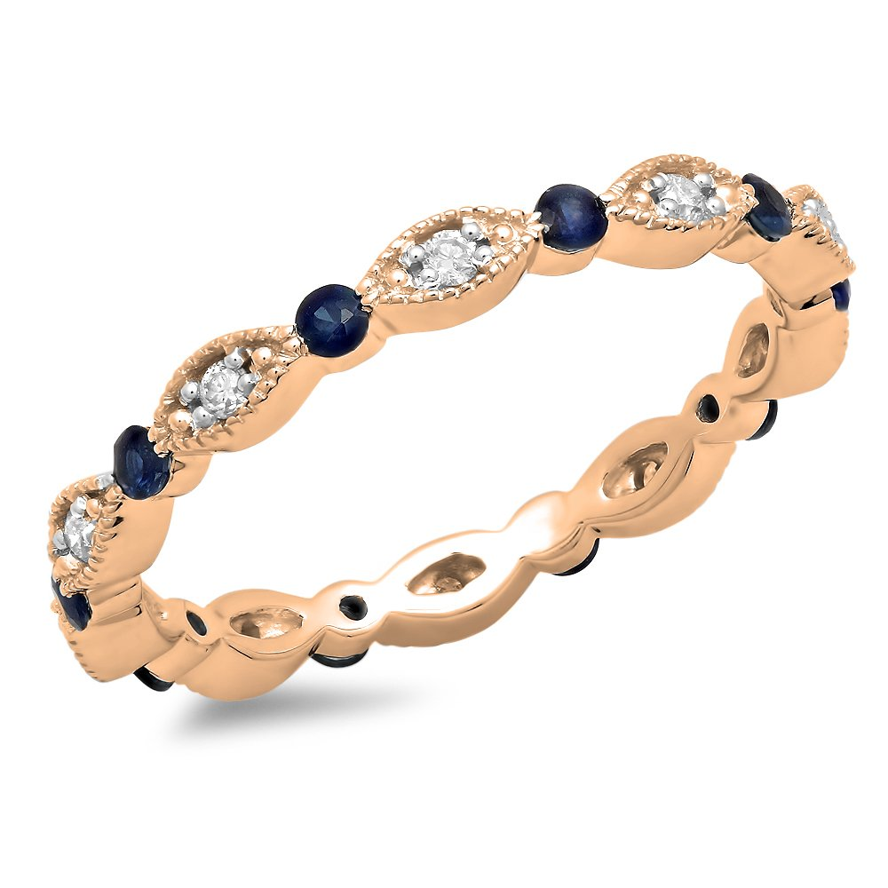 10K Rose Gold Round Blue Sapphire & White Diamond Ladies Wedding Eternity Stackable Band (Size 7)