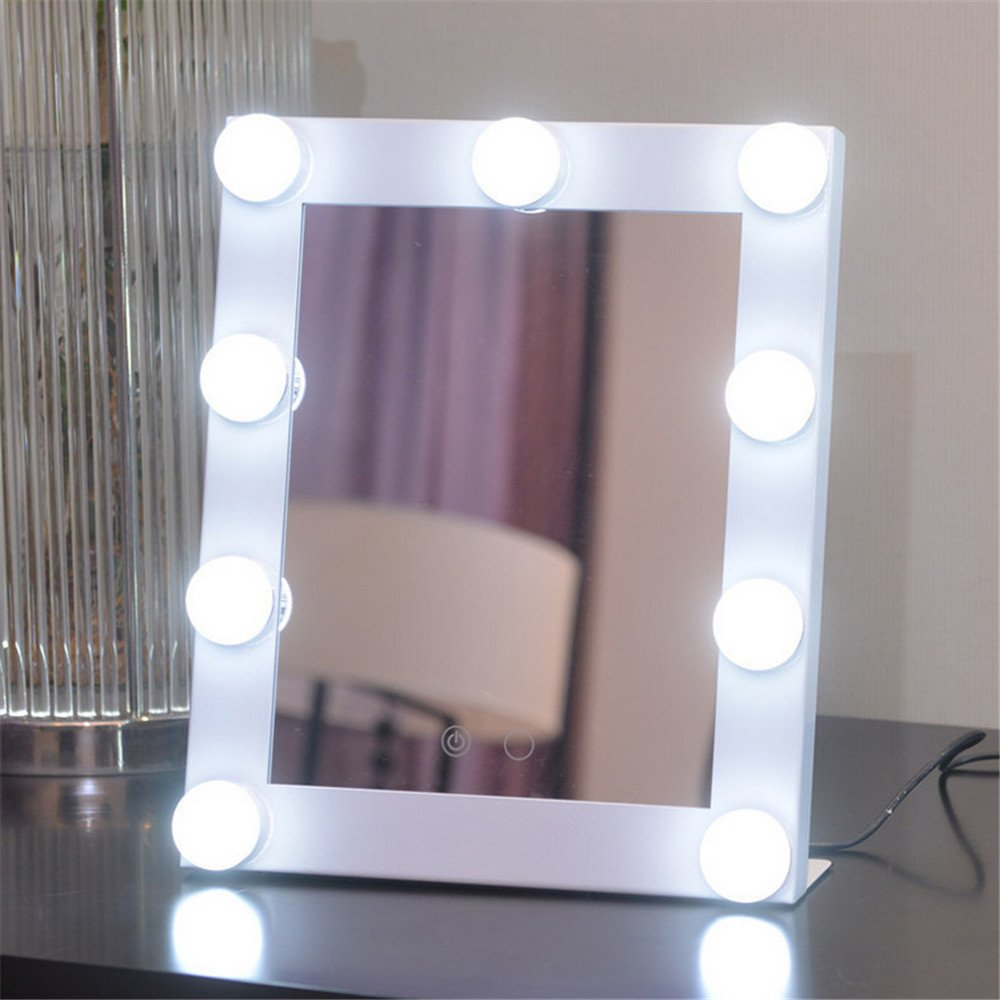 GF Wood Vanity Lighted Hollywood Makeup Mirrors With Dimmer Stage Beauty Mirror Led Bulb For Gift Makeup Bag,White