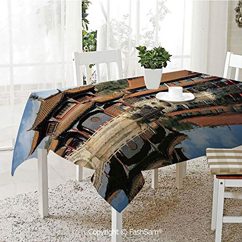 FashSam 3D Print Table Cloths Cover Courtyard of