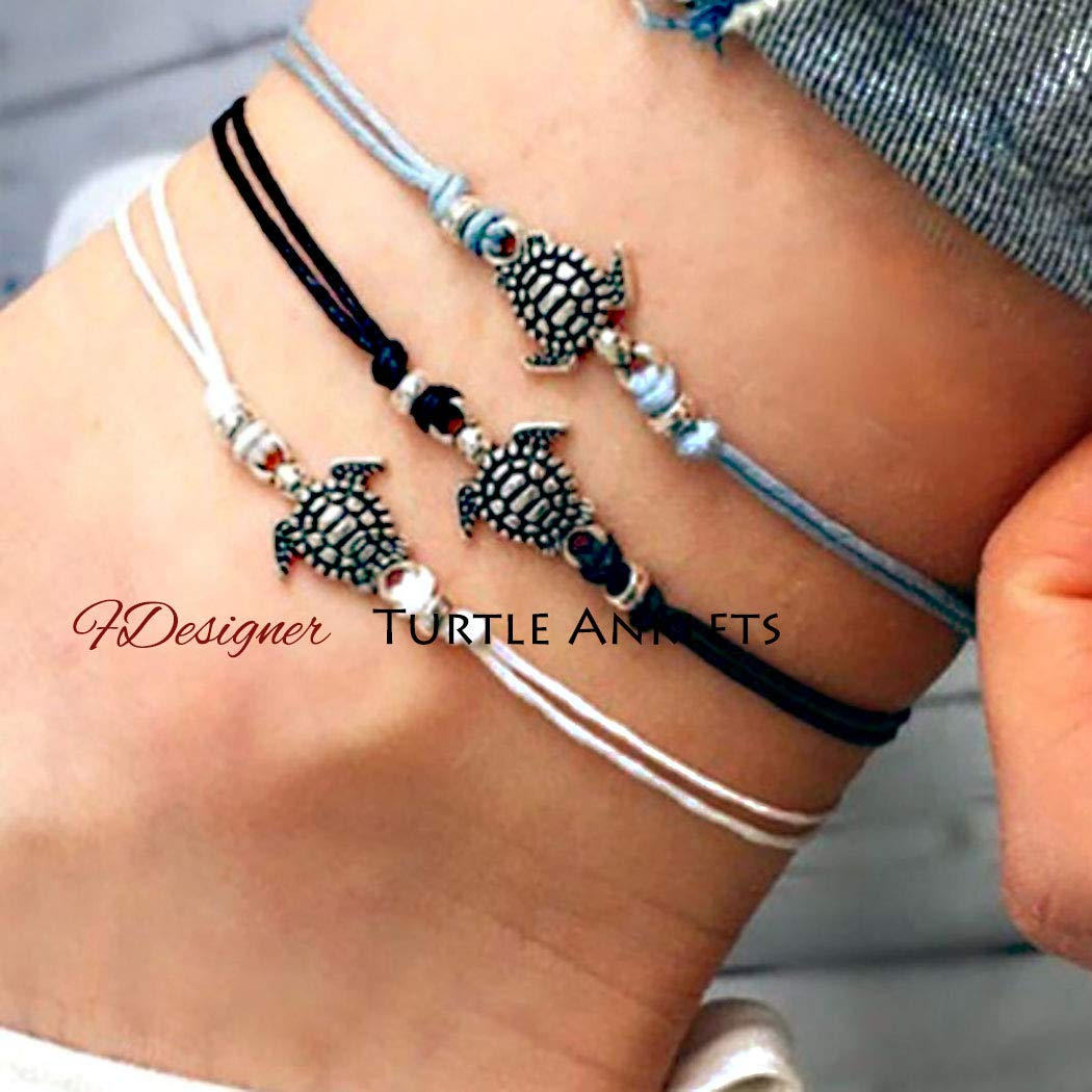 Anklet Silver Sea Turtle Blue Adjustable Cord Friendship String Hippie Boho Beach Ankle Bracelet 5203