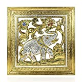 Elephant Jubilee Gilded 24k Gold-Tone Leaf Mosaic Mirror Carved Rain Tree Wood Frame - Fair Trade Handicraft by Thai Artisans
