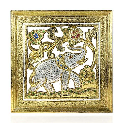AeraVida Elephant Jubilee Gilded 24k Gold-Tone Leaf Mosaic Mirror Carved Rain Tree Wood Frame - Fair Trade Handicraft by Thai Artisans
