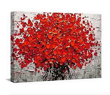 BWHome Style Rouge Gris Fleur Rue Paysage Art Photo Peinture ...