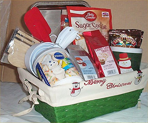Sugar Cookie Gift Basket Snowman Coffee + Mug Hot Cocoa Spoons Frosting Tray