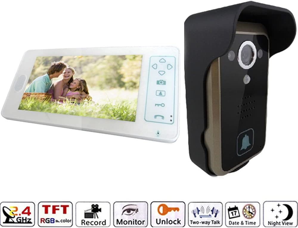 J-DEAL 7 Inch Colorful LCD Screen Video Doorbell Video Door Phone Home Security Camera Monitor Intercom System Crystal Clear Picture Perfect Sound Quality Ultra-slim Design Nice and Luxurious Indoor Monitor 100 Degrees Wide Visual Angle Clear Night Vision and IP55 Waterproof Outdoor Camera – with Rain Cover White