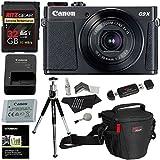 Canon PowerShot G9 X Mark II Digital Camera 20.2 MP Sensor & Wi-Fi (Black) + 32GB 2 Pack + Ritz Gear Case + Card Reader + Polaroid 8 Tripod + Cleaning Kit + Screen Protector Bundle