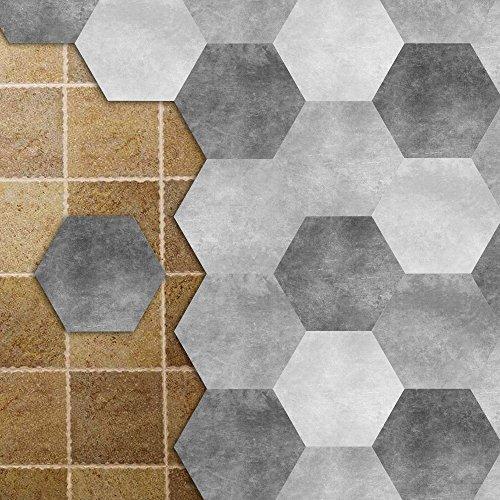 Limestone Flooring - APSOONSELL Limestone Tile Stickers, Decorative Vinyl Flooring Tiles for Kitchen & Bathroom, 9 inch, Pack of 10